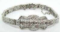 LADIES PLATINUM ART DECO DIAMOND FILIGREE BRACELET 2.70 CARATS