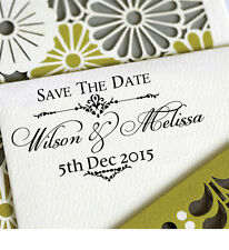 Personalized Custom Name Save The Date Wedding Handle Mounted Rubber Stamp RE673