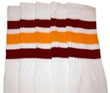 """22"""" KNEE HIGH WHITE tube socks with MAROON/GOLD stripes style 1 (22-107)"""
