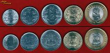 INDIA 2011 SET OF 5 COIN NEW RUPEE SYMBOL 50P,1,2,5,10 BIMETALLIC UNC
