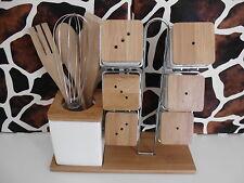 Bambus Gewürzständer mit Besteck Menageset Porzellan Gewürzset Neu