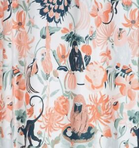 TARGET OPAL HOUSE GARDEN OF MONKEYS CORAL FLORAL (1) SHOWER CURTAIN 68 X 71