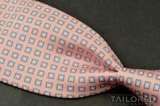 """MARINELLA Pink QUATREFOIL Geometric 100% Silk TWILL Mens Luxury Tie - 3.75"""""""