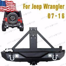 Per 07-16 Jeep Wrangler JK Rock Crawler Retro Paraurti W/ 2 Led Luci &tire