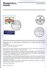 ITALIE 2006 CHAMPIONNATS MONDO PONT BULLETIN COMPLET DE TIMBRES FDC
