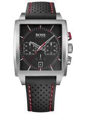 Hugo Boss HB-1005 Herrenchrono eckig silberfarben schwarz rot