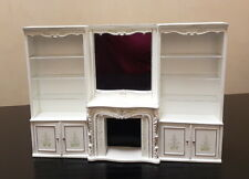 Créal Trianon 1:12 Dollhouse Wall unit (fireplace mirror and bookcases) white