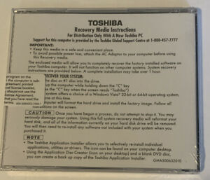 Toshiba Satellite A300/A305 64 bit Recovery and Applications/Drivers Sealed 015