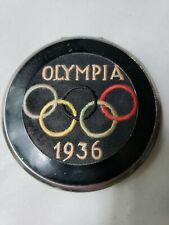 Vintage 1936 Olympia Olympics Memorabilia Mirrored Compact w Olympic Rings Logo