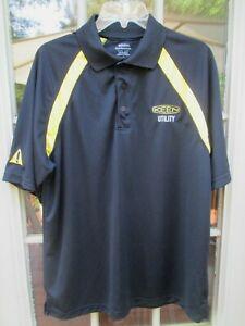 KEEN UTILITY Promo POLO SHIRT, Black & Yellow Polyester, Men's LARGE, Logo, NEW