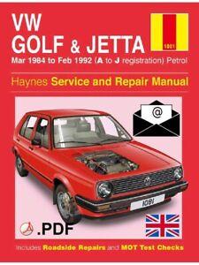 VW GOLF & JETTA Mk2 Petrol 1984-1992 Service and Repair Manual Workshop EN eBook