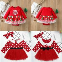 Newborn Baby Girls Romper Dress Christmas Outfits Xmas Party Bodysuit Clothes