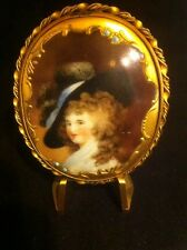 Antique Hand Painted Porcelain Lady Brooch, REALLY BEAUTIFUL Vintage Piece