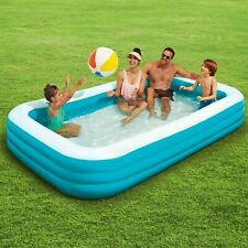 Play Day Rectangular Inflatable Family Kids Swimming Pool 10-Ft Fun Outdoors New
