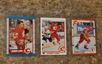 (3) Theo Fleury 1989-90 O-Pee-Chee 1990-91 Upper Score Rookie card lot Flames RC