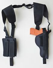 Vertical Shoulder Holster for Glock 17,22,31 with underbarrel Laser Double Pouch