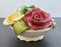 Bone China Basket of Handmade/painted Roses by Aynsley of England est 1775**Read