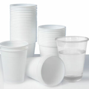 Plastic Cups 7oz Disposable Plastic Cups Water Cups White cups / Clear Cups UK