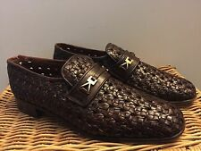 "VTG CONTINENTAL BALLY BROWN Hurrache Buckle Loafer 9M WOVEN LEATHER "" CATTULICA"""