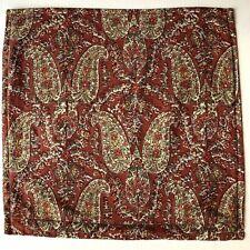 Pottery Barn Throw Decorative Pillow Cover Linen Blend Rust Green Paisley 20x20