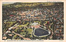 Washington postcard Seattle, Aerial Bird's Eye view Volunteer Park & Art Museum
