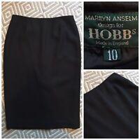 MARILYN ANSELM FOR HOBBS UK 10 Ladies Black High Waist Rise Wool Pencil Skirt