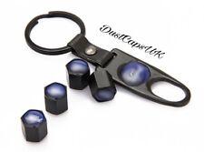 X5 Noir Roue Pneu Valve Dust Caps clé clé clé SET Anti Vol Ford Bleu
