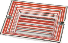 CENICERO PORCELANA - Rayas - Roja / PLATA - 2 Estructuras - 185 x 155mm