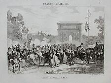 Mailand, Milano. Porta Romana. Einzug französischer Truppen - Kupferstich 1835