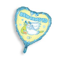 """PALLONCINO MYLAR CUORE """"Benvenuto"""" ELIO o ARIA Addobbi Nascita Festa Eventi Blu"""