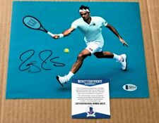 ROGER FEDERER SIGNED 8X10 TENNIS PHOTO BECKETT CERTIFIED #17