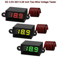 "3pcs Mini Digital DC Voltmeter 0.28"" 3.0V-30V Voltmeter Display Voltage Tester"