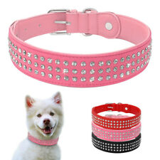 Leather Dog Collar Bling Rhinestone Diamond 3 Rows Crystal Collar for Large Dog