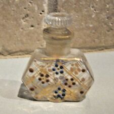 French Antique Doll miniature Enamel floral glass small Perfume Bottle