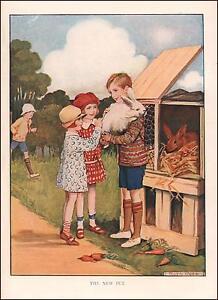 CHILDREN PETTING RABBIT, NEW PET, VINTAGE PRINT, AUTHENTIC 1930