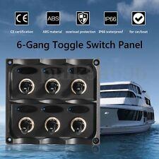 Waterproof 12V-24V Car Boat Marine 6-Gang Toggle Switch Panel Fuse Kit+LED Light