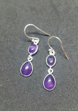 Brand New Handmade Sterling Silver Round Double Stone Amethyst Drop Earrings