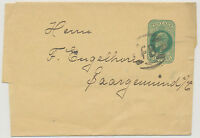 "2426 1902 EVII ½ D bluegreen VF postal stationery wrapper NPB ""FB"" from LONDON"