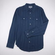 LEVI'S Button Front Casual Shirt Long Sleeve Navy Striped Mens L