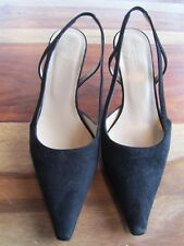 GORGEOUS HOBBS AUDE BLACK SUEDE SLINGBACK SHOES SIZE 36 50mm HEELS