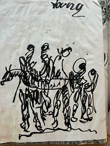 Purvis Young Group Of Figures On Horse Outsider Art Signed