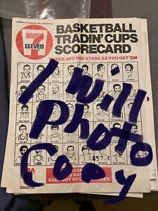 7-11 Basketball Slurpee Cup Checklist Photocopy Of Original NBA Vintage 1972