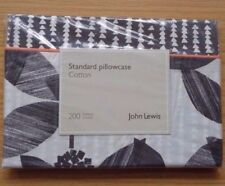 4 x JOHN LEWIS BLACK / WHITE FLORIEN STANDARD PILLOWCASES 50 x 75CM 100% COTTON