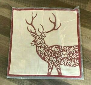 "Pottery Barn Dodson Deer reindeer Pillow cover NWT Christmas 20"" RED plaid"