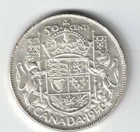 CANADA 1950 FULL DESIGN 50 CENTS HALF DOLLAR GEORGE VI .800 SILVER COIN CANADIAN