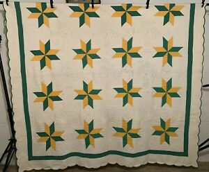 """Antique Vintage Green&Yellow Stars Quilted Peacocks Early 1900s Quilt 60""""X76"""""""
