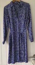 Autograph M&S Blue/white Shirt Dress Size 12 With Belt