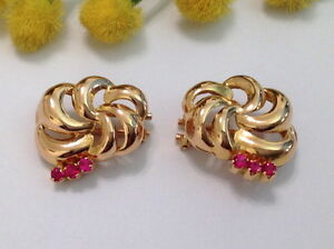 18KT SOLID ROSE GOLD VINTAGE CLIPS EARRINGS WITH RUBIES