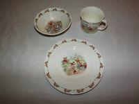 VINTAGE 1936 ROYAL DOULTON BONE CHINA BUNNYKINS 3 PIECE SET CUP SAUCER PLATE