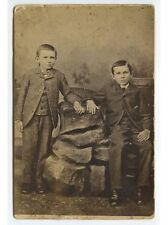 ANTIQUE CAB PHOTO OF 2 BOYS/BROTHERS IN 3 PIECE SUIT FROM LA PORTE, IND., STUDIO